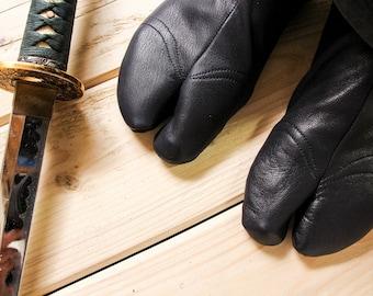 Ninja Soft Leather Tabi with REINFORCEMENTS | BLACK | Cow Leather Tabi | Handmade | Suede Sole | Tatami | Bujinkan
