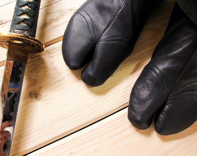 Ninja Soft Leather Tabi with REINFORCEMENTS   BLACK   Cow Leather Tabi   Handmade   Suede Sole   Tatami   Bujinkan