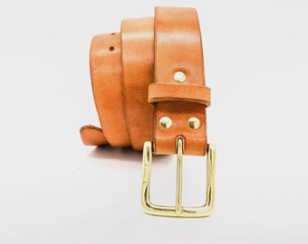 West End Leather Belt. 40mm wide 4mm thick 'Living museum' Veg Tan Leather, artisan heritage of Spain since 1887. Lifetime guaranteed