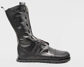 Kombat boots | Barefoot boots | Black Veg tan leather | Handmade shoes | 28cm High | Tall boots | Survival | Vibram Soles