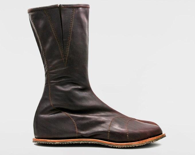 Shadow Dragon Jika Tabi: Ninja Soft Leather Tabi boots for OUTDOORS | Chocolate | BESPOKE SIZE | Vibram sole | Barefoot shoes
