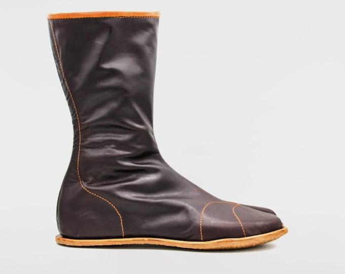 Hattori Hanzō Ninja Jika Tabi Boots | Veg tan leather | Kohaze clasps fastening | Svig rubber soles | Ninja shoes made by a ninja | 30cmTall