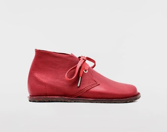 Barefoot Pals   Minimalist footwear   Desert Boots   Barefoot shoes   Burgundy Leather   Handmade in England   Limited Edition