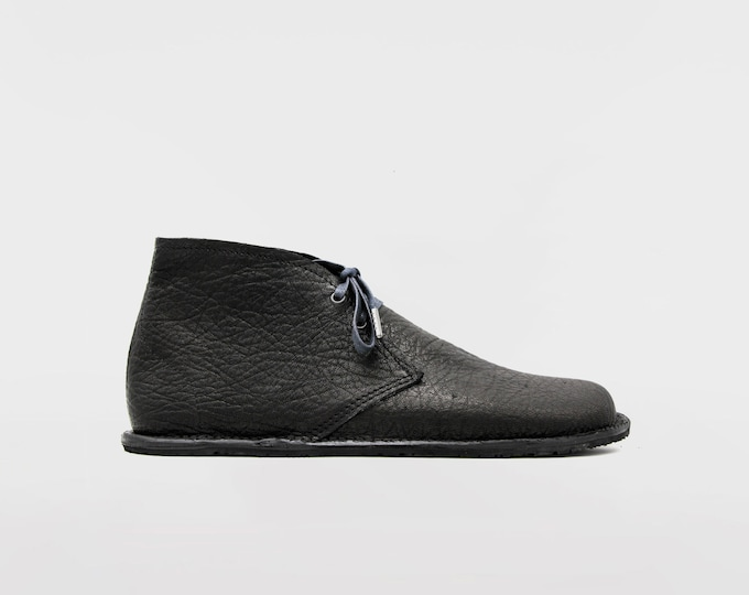 Barefoot Pals | Minimalist footwear | Desert Boots | Barefoot shoes | Black Leather | Handmade in England | Limited Edition