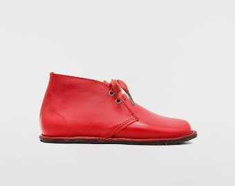 Barefoot Pals   Minimalist footwear   Desert Boots   Barefoot shoes   Red shoes   Handmade in England   Limited Edition