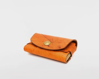Wrapped-around Leather Card Holder / Wild Deer Leather / Leather Business Card Holder / Minimalist leather Wallet