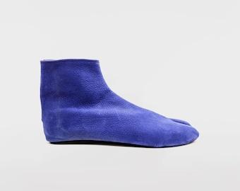 Ninja Soft Leather Tabi // GREY BLUE Nobuk Leather // Chrome Free Cow Nobuk Leather Tabi // Handmade / Suede Sole / Special Limited Edition