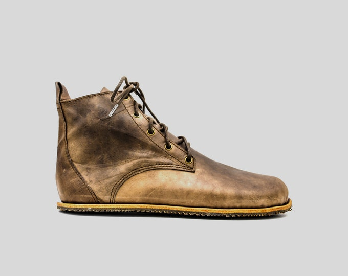 Chukka Boots   Oak Brown Leather Boots   Barefoot Shoes   Vibram Soles   Flexible, Breathable, Stylish   Veg Tan Leather   Made in England