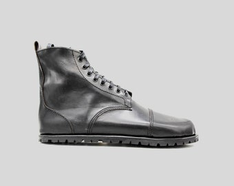 DESERT BLASTER BOOTS   Black leather boots   barefoot shoes   Vibram soles   veg tan leather   Made in England