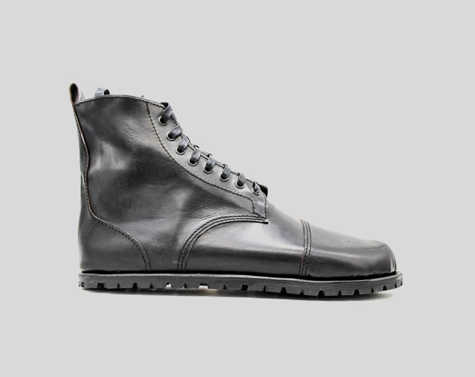 DESERT BLASTER BOOTS | Black leather boots | barefoot shoes | Vibram soles | veg tan leather | Made in England