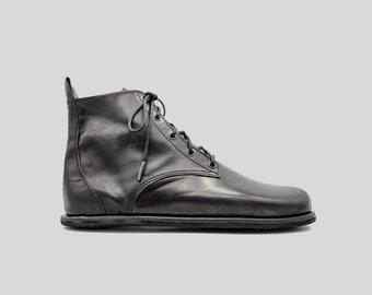 Barefoot Chukka Boots | Black Leather Boots | Barefoot Shoes | Vibram Soles | Flexible, Breathable, Stylish | Veg Tan Leather
