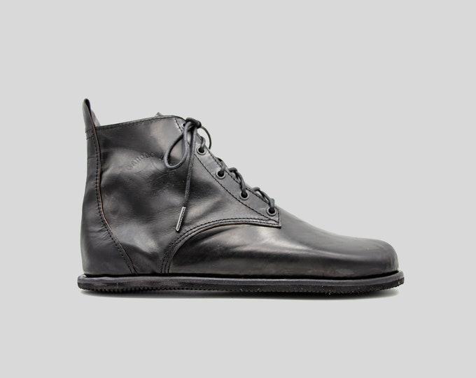 Barefoot Chukka Boots   Black Leather Boots   Barefoot Shoes   Vibram Soles   Flexible, Breathable, Stylish   Veg Tan Leather