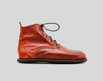 Barefoot Chukka Boots | Cherry Leather Boots | Barefoot Shoes | Vibram Soles | Flexible, Breathable, Stylish | Veg Tan Leather