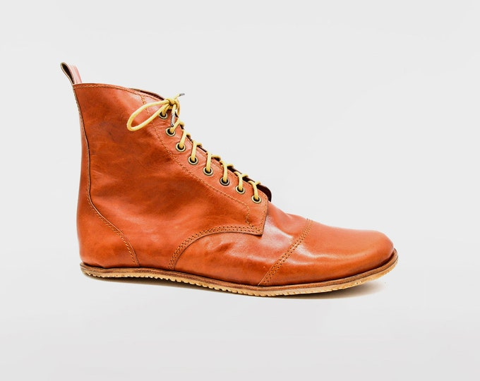 DESERT BLASTER BOOTS | Chestnut brown leather boots | barefoot shoes | Vibram soles | flexible, breathable, stylish | veg tan leather