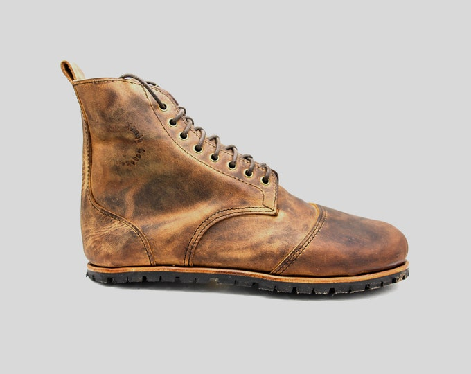 DESERT BLASTER BOOTS | Pull Up leather boots | barefoot shoes | Vibram soles | flexible, breathable, stylish | veg tan leather | Minimalist