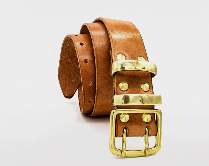 Men's Double Prong Leather Work Belt by Gaucho Ninja   Full grain Veg Tan Leather   4 to 5 mm thick   Extra wide belt