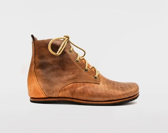 Chukka Boots   Orange Brown Leather Boots   Barefoot Shoes   Limited Edition   Flexible, Breathable, Stylish   Veg Tan Leather