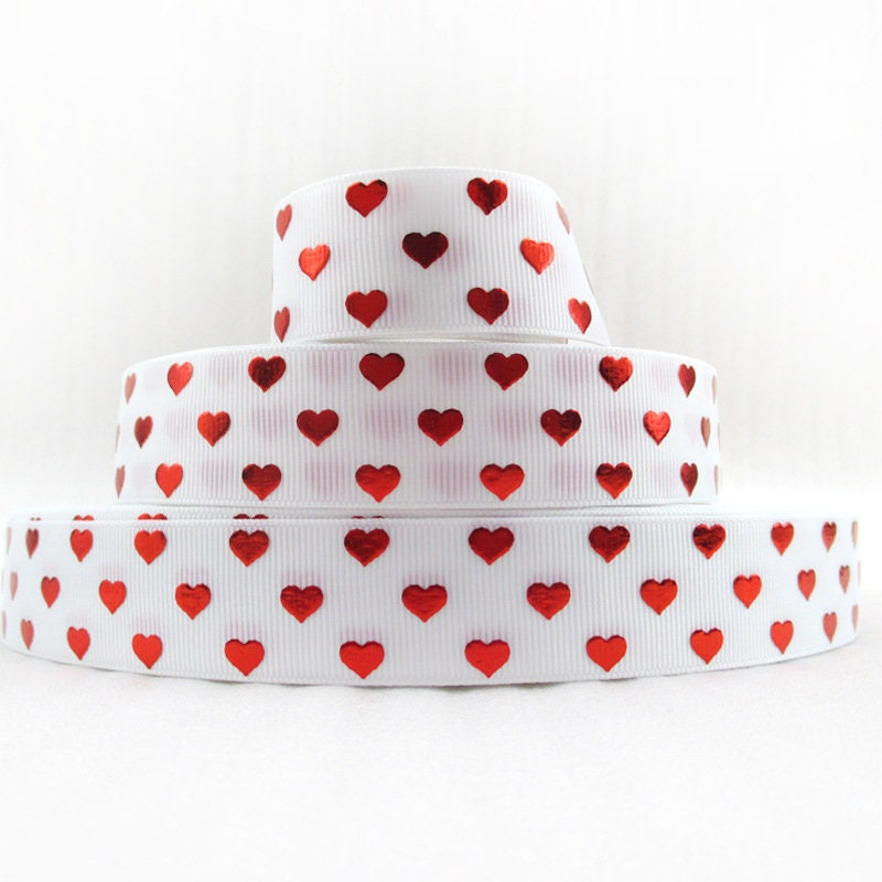 Ruban de la Saint-Valentin MingRibbon 50 yards/rouleau 25mm, ruban de choclate bouquets de fleurs, choclate de ruban, ruban de bijoux, coeur rouge imprimé ruban gros-grain d0ee1e