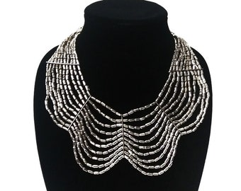 Vintage Tribal Ethnic Layered Mixed Metal Beaded Necklace Indian Necklace with Vtg Silvertone collar