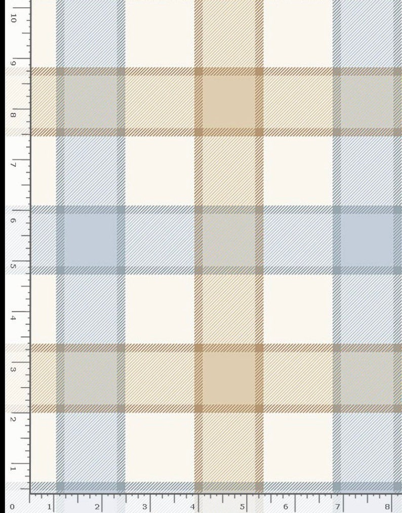 Plaid Blender-Natural and Blue-Timeless Treasures Welcome To The Beach Collection-C8132-100/% Cotton-Quilt Fabric-Choose Your Cut