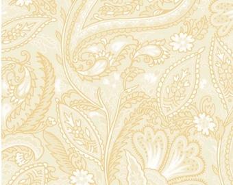 Cream and White Paisley Fleur-Metallic-Glad Tidings Collection-Maywood Studios-MASM9823-E-100% cotton-Cut to Size