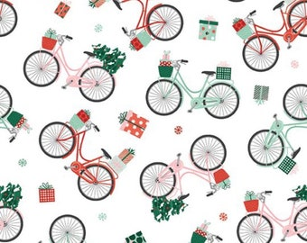 Home For Christmas-Bicycles-Bike-Paint Brush Studio-Angela Nickeas-Holiday-Winter-100% Cotton-Quilting Cotton-21841-Cut to Size