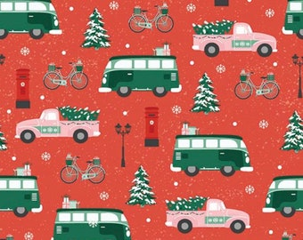 Home For Christmas-Truck Van Bike-Paint Brush Studio-Angela Nickeas-Holiday-Winter-100% Cotton-Quilting Cotton-21840-Cut to Size