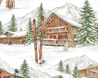 Alpine Village White-Alpine Winter Collection-Cotton Blender-Northcott Fabrics-24333-10-100% cotton-Cut to Size