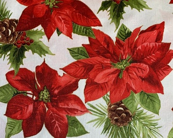 Poinsettias and Pine Cones on White-Metallic-Glad Tidings Collection-Maywood Studios-MASM9820-SWR-100% cotton-Cut to Size