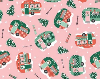 Home For Christmas-Camper-Trailer-Paint Brush Studio-Angela Nickeas-Holiday-Winter-100% Cotton-Quilting Cotton-21842-Cut to Size