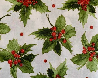 Holly and Berries on White-Metallic-Glad Tidings Collection-Maywood Studios-MASM9821-SW-100% cotton-Cut to Size