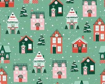 Home For Christmas-Village-Paint Brush Studio-Holiday-Winter-Angela Nickeas-100% Cotton-Quilting Cotton-21839-Cut to Size