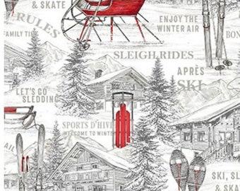 Alpine Toile White-Alpine Winter Collection-Cotton Blender-Northcott Fabrics-24336-10-100% cotton-Cut to Size