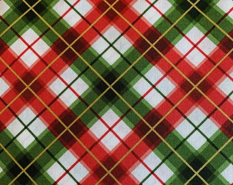 Red and Green Plaid on White-Metallic-Glad Tidings Collection-Maywood Studios-MASM9824-RG-100% cotton-Cut to Size