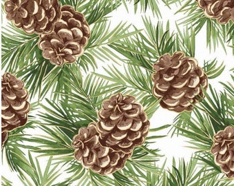 Pine Cones on White-Metallic-Glad Tidings Collection-Maywood Studios-MASM9822-SW-100% cotton-Cut to Size