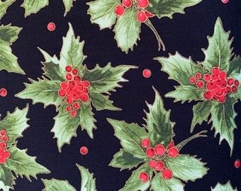 Holly and Berries on Black-Metallic-Glad Tidings Collection-Maywood Studios-MASM9821-J-100% cotton-Cut to Size