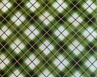Green Plaid on White-Metallic-Glad Tidings Collection-Maywood Studios-MASM9824-G-100% cotton-Cut to Size