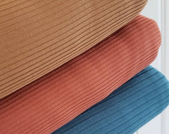 Rib Knit Fabric solid color teal, rust, chestnut
