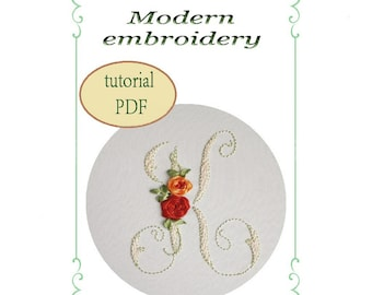 Hand Embroidery Alphabet Floral Pattern Pdf Monogram Letters Etsy