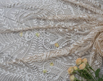 Boho peacock lace fabric vintage bridal lace boho bridal lace floral cotton lace fabric cotton bridal lace fabric with sequins L20-405