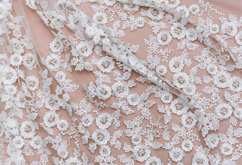 WL 0197 3d  flowers lace for wedding and evening dresses lace dress sequin lace fabric boho wedding dress