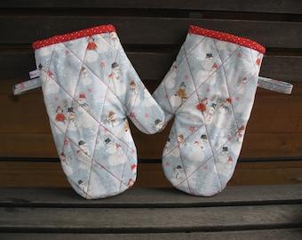 Pot Gloves Winter Joy - Building Snowman