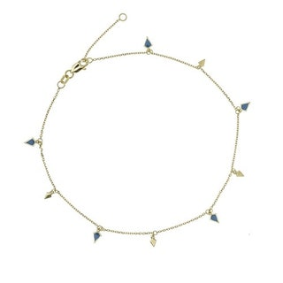 14k Gold Dangle Blue Anklet | Solid Yellow Gold Hanging Triangle Blue Rotating Charms Anklet | Anklet for Her
