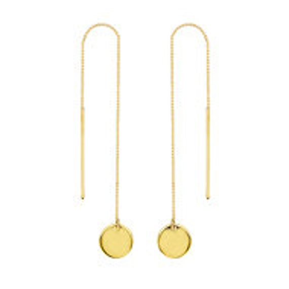 Engravable Disc Box Chain Threader Earrings 14kt Y.G