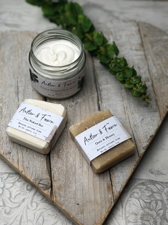 The Naked Collection - Gift Set - The Naked Bar Soap - The Whipped Naked Body Butter - Oats & Honey Soap