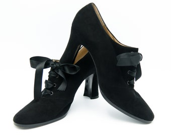 13df923c230 Yves Saint Laurent Shoes, Booties, Black Suede Boots, YSL US Size 7.5,  Actual US Size 6.5-7.0, Vintage, Steampunk