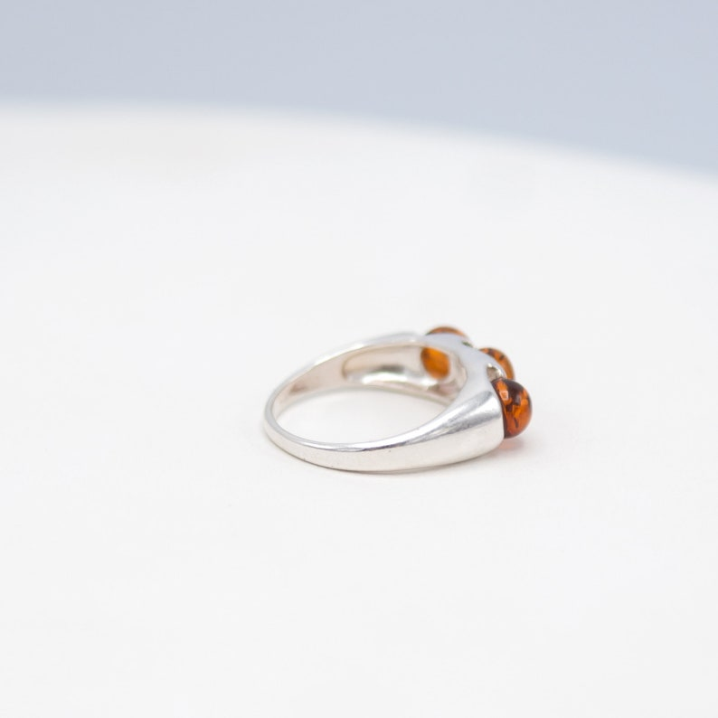 Modern Ring Natural Baltic Amber Ring Sterling Silver DESTASH Jewelry Womens Ring Minimalist Ring