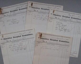 Original invoices for Hinckley Hospital Committee, 1913 invoices for hospital supplies, scrapbooking, collage, crafts etc. Vintage ephemera