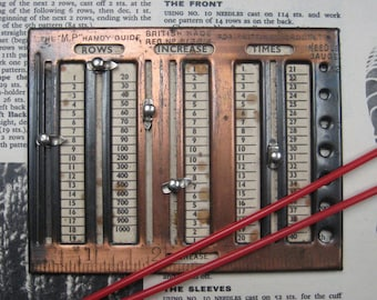 Vintage knitting counter and needle gauge, M P Handy gauge, 1930's knitting accessory