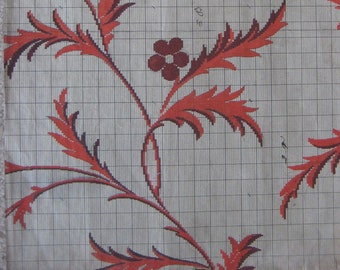 Original French pattern for lamé fabric. 1851 design. Ideal for framing, crafts or artwork.